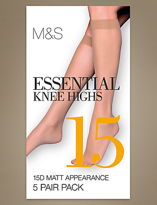 5 Pair Pack 15 Denier Matt Knee Highs Clothing