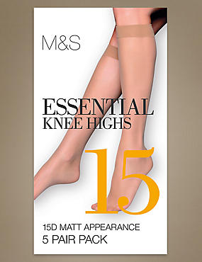 5 Pair Pack 15 Denier Matt Knee Highs