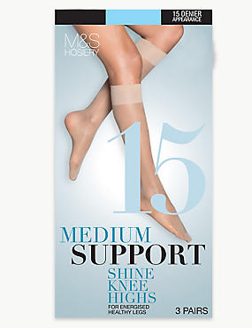 3 Pair Pack 15 Denier Medium Support Shine Knee Highs with Silver Technology