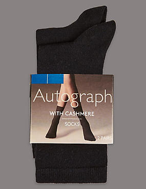 2 Pair Pack Cashmere Blend Ankle High Socks