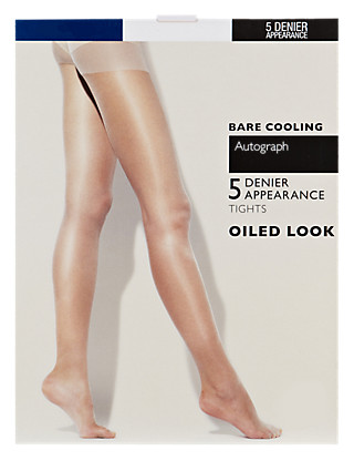 5 Denier Bare Oiled Tights 1 Pair Pack Clothing