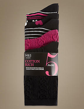 5 Pair Pack Cotton Rich Assorted Socks