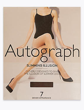 7 Denier Cool Comfort™ Slimming Illusion Sheer Tights , COCOA, catlanding