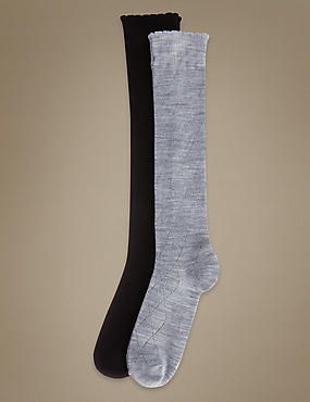 2 Pair Pack Knee High Socks with Silver Technology