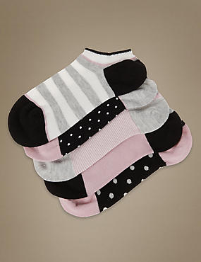 5 Pair Pack Supersoft Spotted Striped Trainer Liner Socks with Silver Technology