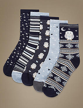 5 Pair Pack Supersoft Socks with Silver Technology