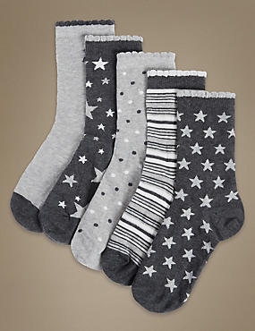 5 Pair Pack Ankle High Socks with Silver Technology