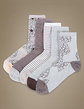 5 Pair Pack Floral Ankle High Socks