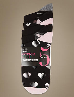 5 Pair Pack Heart Print Ankle High Socks