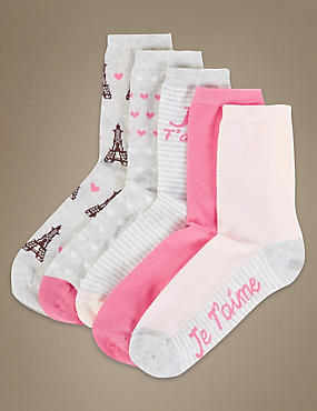 5 Pair Pack Ankle High Socks