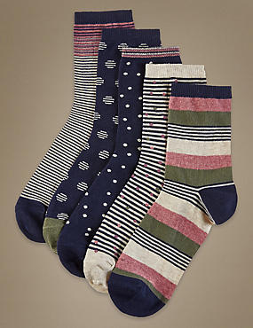 5 Pair Pack Ankle High Stripe & Spot Socks