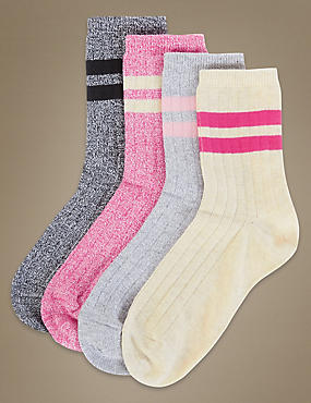 4 Pair Pack Ankle High Socks