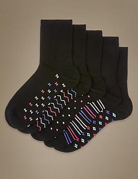 5 Pair Pack Ankle High Socks, BLACK MIX, catlanding