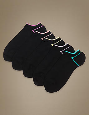 5 Pair Pack Heel & Toe Trainer Liner Socks
