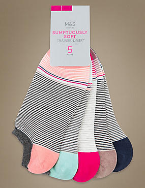 5 Pair Pack Striped Trainer Liner Socks