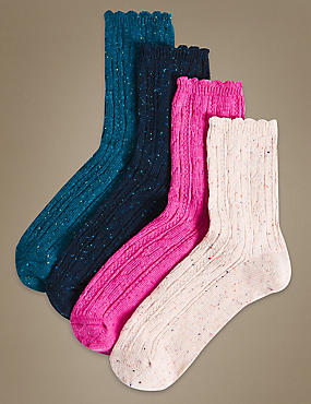 4 Pair Pack Cotton Rich Ankle High Socks
