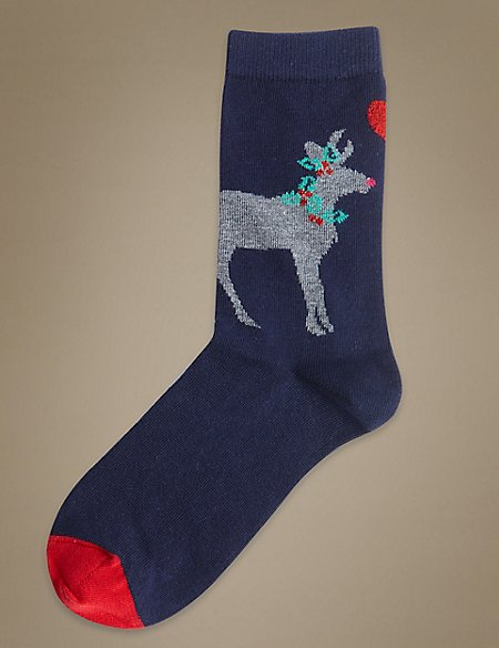 Cotton Rich Reindeer Ankle High Socks