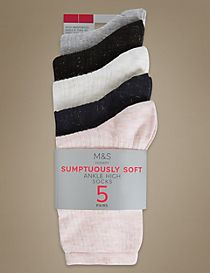5 Pair Pack Sumptuously Soft Ribbed Ankle High Socks