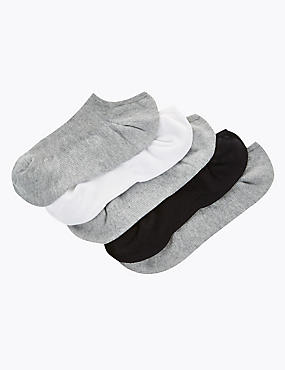 5 Pair Pack Ultimate Comfort No Show Trainer Liner Socks, GREY MIX, catlanding