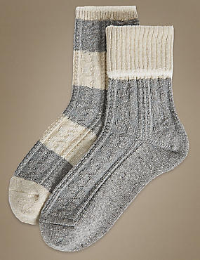 2 Pair Pack Thermal Ankle High Socks, GREY MIX, catlanding