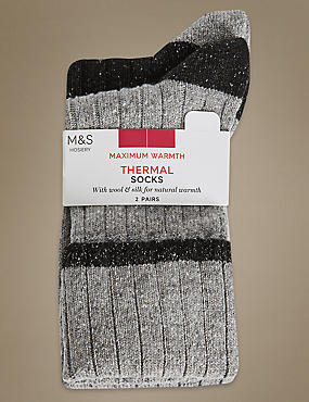 2 Pair Pack Textured Thermal Ankle High Socks