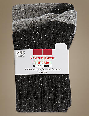 2 Pair Pack Textured Thermal Knee High Socks