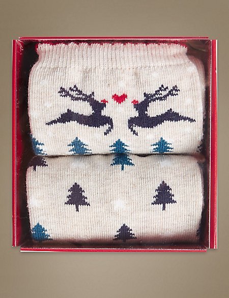 2 Pair Pack Fairisle Christmas Ankle High Socks