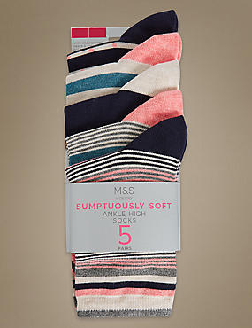 5 Pair Pack Sumptuously Soft Striped Ankle High Socks