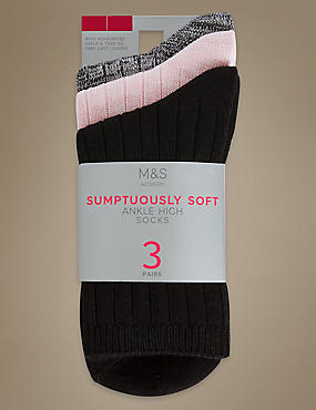 3 Pair Pack Heavyweight Sumptuously Soft Ankle High Socks