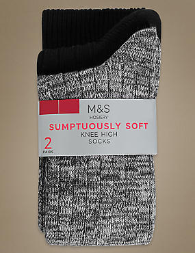 2 Pair Pack Heavyweight Sumptuously Soft Knee High Socks