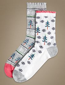 2 Pair Pack Christmas Tree Print Ankle High Socks