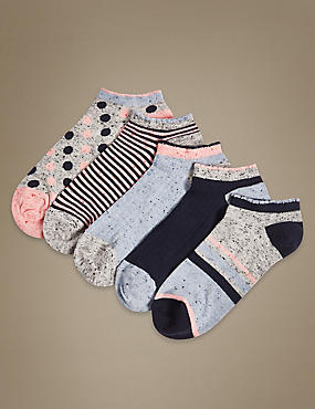 5 Pair Pack Cotton Rich Trainer Liner Socks, NAVY MIX, catlanding