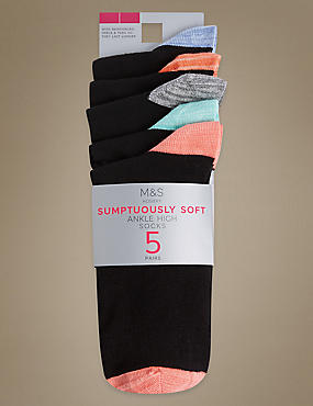 5 Pair Pack Supersoft Ankle High Socks