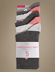 5 Pair Pack Sumptuously Soft Ankle High Socks