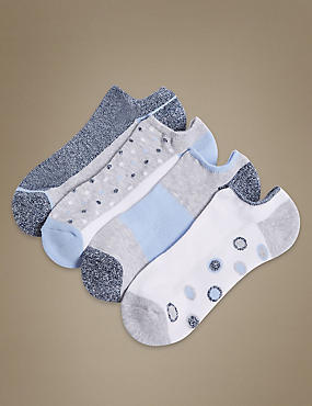 4 Pair Pack Cotton Rich Trainer Liner Socks, WHITE MIX, catlanding