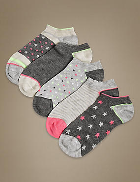 5 Pair Pack Supersoft Trainer Liner Socks, GREY MIX, catlanding