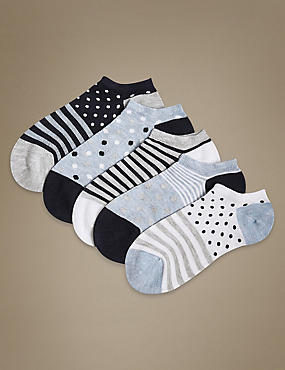5 Pair Pack Sumptuously Soft Trainer Liner Socks, DENIM MIX, catlanding