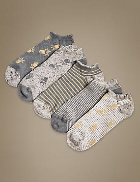 5 Pair Pack Cotton Rich Trainer Liner Socks, GREY MIX, catlanding