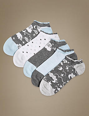 5 Pair Pack Sumptuously Soft Trainer Liner Socks , GREY MIX, catlanding