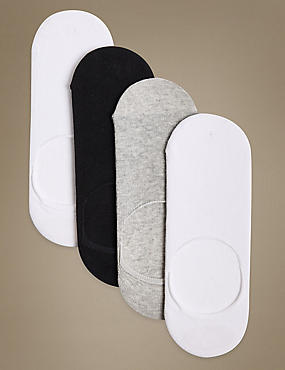 4 Pair Pack Cotton Rich Trainer Liner Socks, WHITE MIX, catlanding