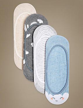 4 Pair Pack Cotton Rich Low Cut Footsies, GREY MIX, catlanding