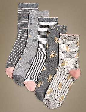 5 Pair Pack Cotton Rich Ankle High Socks, CORAL MIX, catlanding