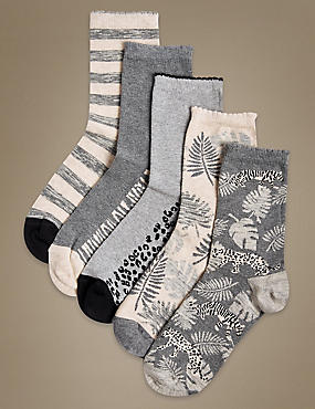 5 Pair Pack Cotton Rich Ankle High Socks   , GREY MIX, catlanding