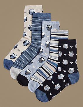 5 Pair Pack Ankle High Socks, DENIM MIX, catlanding