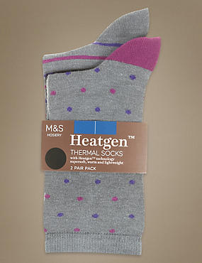 2 Pair Pack Heatgen™ Pattern Ankle High Socks