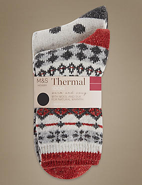 2 Pair Pack Bright Fairisle Thermal Ankle High Socks with Silver Technology
