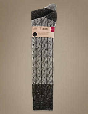 2 Pair Pack Thermal Cable Knee High Socks