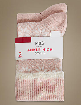 2 Pair Pack Ankle High Socks