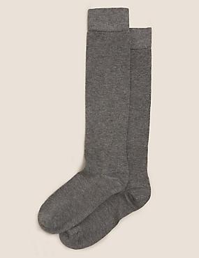 2 Pair Pack Soft Knee High Socks, GREY, catlanding