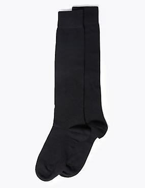 2 Pair Pack Soft Knee High Socks, BLACK, catlanding